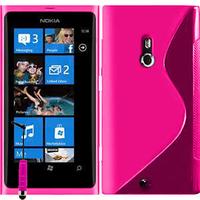 Nokia Lumia 800: Accessoire Housse Etui Pochette Coque S silicone gel + mini Stylet - ROSE
