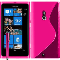 Nokia Lumia 800: Accessoire Housse Etui Pochette Coque S silicone gel + Stylet - ROSE