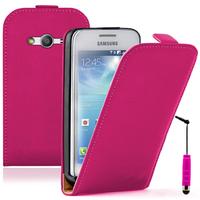 Samsung Galaxy Ace 4 Style LTE SM-G357FZ: Accessoire Housse coque etui cuir fine slim + mini Stylet - ROSE