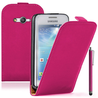 Samsung Galaxy Ace 4 Style LTE SM-G357FZ: Accessoire Housse coque etui cuir fine slim + Stylet - ROSE
