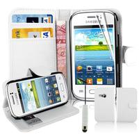 Samsung Galaxy Young S6310 Duos S6312 GT-S6310L: Accessoire Etui portefeuille Livre Housse Coque Pochette support vidéo cuir PU + mini Stylet - BLANC