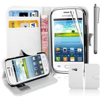 Samsung Galaxy Young S6310 Duos S6312 GT-S6310L: Accessoire Etui portefeuille Livre Housse Coque Pochette support vidéo cuir PU + Stylet - BLANC