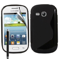 Samsung Galaxy Young S6310 Duos S6312 GT-S6310L: Accessoire Housse Etui Pochette Coque S silicone gel + Stylet - NOIR