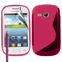 Samsung Galaxy Young S6310 Duos S6312 GT-S6310L: Accessoire Housse Etui Pochette Coque S silicone gel + Stylet - ROSE