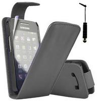 Samsung Galaxy Ace Plus S7500: Accessoire Etui Housse Coque Pochette simili cuir + mini Stylet - NOIR