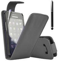 Samsung Galaxy Ace Plus S7500: Accessoire Etui Housse Coque Pochette simili cuir + Stylet - NOIR