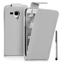 Samsung Galaxy Trend 2 II S7570/ S7572/ S7568/ S7898/ i699: Accessoire Etui Housse Coque Pochette simili cuir + Stylet - BLANC