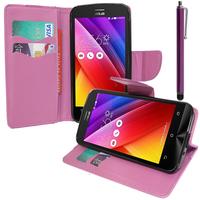 Asus Zenfone 2 ZE500CL/ Zenfone 2E: Accessoire Etui portefeuille Livre Housse Coque Pochette support vidéo cuir PU effet tissu + Stylet - VIOLET
