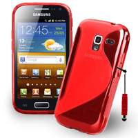 Samsung Galaxy Ace 2 i8160: Accessoire Housse Etui Pochette Coque S silicone gel + mini Stylet - ROUGE