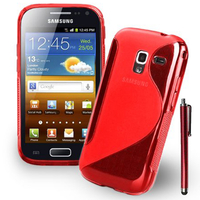 Samsung Galaxy Ace 2 i8160: Accessoire Housse Etui Pochette Coque S silicone gel + Stylet - ROUGE