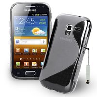Samsung Galaxy Ace 2 i8160: Accessoire Housse Etui Pochette Coque S silicone gel + mini Stylet - TRANSPARENT