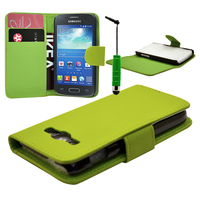 Samsung Galaxy Ace 3 S7270 S7272 S7275 LTE: Accessoire Etui portefeuille Livre Housse Coque Pochette cuir PU + mini Stylet - VERT