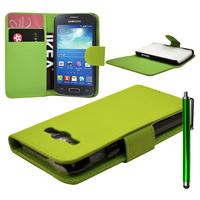 Samsung Galaxy Ace 3 S7270 S7272 S7275 LTE: Accessoire Etui portefeuille Livre Housse Coque Pochette cuir PU + Stylet - VERT