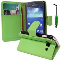 Samsung Galaxy Ace 3 S7270 S7272 S7275 LTE: Accessoire Etui portefeuille Livre Housse Coque Pochette support vidéo cuir PU + mini Stylet - VERT