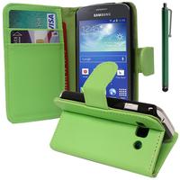 Samsung Galaxy Ace 3 S7270 S7272 S7275 LTE: Accessoire Etui portefeuille Livre Housse Coque Pochette support vidéo cuir PU + Stylet - VERT
