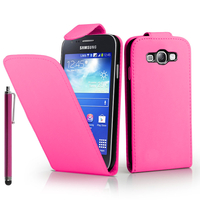 Samsung Galaxy Ace 3 S7270 S7272 S7275 LTE: Accessoire Etui Housse Coque Pochette simili cuir + Stylet - ROSE