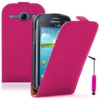 Samsung Galaxy Ace 3 S7270 S7272 S7275 LTE: Accessoire Housse coque etui cuir fine slim + mini Stylet - ROSE