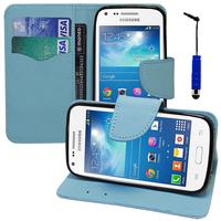 Samsung Galaxy Core Plus G3500/ Trend 3 G3502: Accessoire Etui portefeuille Livre Housse Coque Pochette support vidéo cuir PU effet tissu + mini Stylet - BLEU