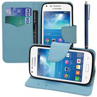 Samsung Galaxy Core Plus G3500/ Trend 3 G3502: Accessoire Etui portefeuille Livre Housse Coque Pochette support vidéo cuir PU effet tissu + Stylet - BLEU