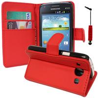 Samsung Galaxy Core I8260/ I8262 Dual Sim: Accessoire Etui portefeuille Livre Housse Coque Pochette support vidéo cuir PU + mini Stylet - ROUGE