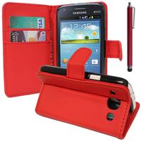 Samsung Galaxy Core I8260/ I8262 Dual Sim: Accessoire Etui portefeuille Livre Housse Coque Pochette support vidéo cuir PU + Stylet - ROUGE