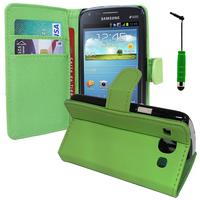 Samsung Galaxy Core I8260/ I8262 Dual Sim: Accessoire Etui portefeuille Livre Housse Coque Pochette support vidéo cuir PU + mini Stylet - VERT