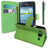 Samsung Galaxy Core I8260/ I8262 Dual Sim: Accessoire Etui portefeuille Livre Housse Coque Pochette support vidéo cuir PU + Stylet - VERT