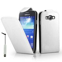 Samsung Galaxy Core I8260/ I8262 Dual Sim: Accessoire Etui Housse Coque Pochette simili cuir + mini Stylet - BLANC