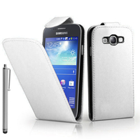 Samsung Galaxy Core I8260/ I8262 Dual Sim: Accessoire Etui Housse Coque Pochette simili cuir + Stylet - BLANC