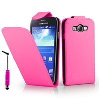Samsung Galaxy Core I8260/ I8262 Dual Sim: Accessoire Etui Housse Coque Pochette simili cuir + mini Stylet - ROSE