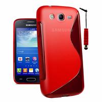 Samsung Galaxy Core I8260/ I8262 Dual Sim: Accessoire Housse Etui Pochette Coque S silicone gel + mini Stylet - ROUGE