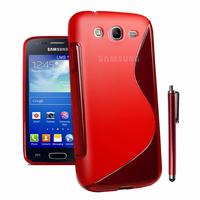 Samsung Galaxy Core I8260/ I8262 Dual Sim: Accessoire Housse Etui Pochette Coque S silicone gel + Stylet - ROUGE