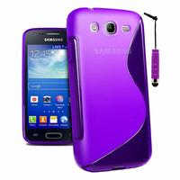 Samsung Galaxy Core I8260/ I8262 Dual Sim: Accessoire Housse Etui Pochette Coque S silicone gel + mini Stylet - VIOLET