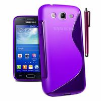 Samsung Galaxy Core I8260/ I8262 Dual Sim: Accessoire Housse Etui Pochette Coque S silicone gel + Stylet - VIOLET