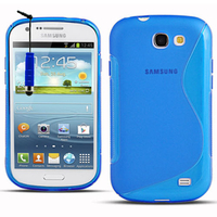 Samsung Galaxy Express I8730: Accessoire Housse Etui Pochette Coque S silicone gel + mini Stylet - BLEU