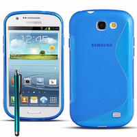 Samsung Galaxy Express I8730: Accessoire Housse Etui Pochette Coque S silicone gel + Stylet - BLEU