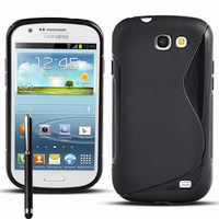 Samsung Galaxy Express I8730: Accessoire Housse Etui Pochette Coque S silicone gel + Stylet - NOIR