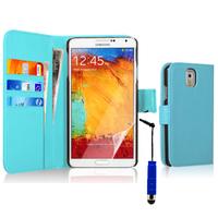 Samsung Galaxy Note 3 N9000/ N9002/ N9005/ N9006: Accessoire Etui portefeuille Livre Housse Coque Pochette cuir PU + mini Stylet - BLEU
