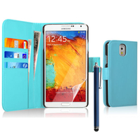 Samsung Galaxy Note 3 N9000/ N9002/ N9005/ N9006: Accessoire Etui portefeuille Livre Housse Coque Pochette cuir PU + Stylet - BLEU