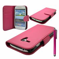 Samsung Galaxy S3 mini i8190/ i8200 VE: Accessoire Etui portefeuille Livre Housse Coque Pochette cuir PU + Stylet - ROSE