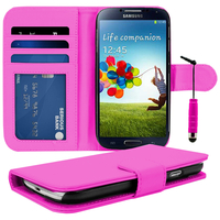 Samsung Galaxy S4 i9500/ i9505/ Value Edition I9515: Accessoire Etui portefeuille Livre Housse Coque Pochette cuir PU + mini Stylet - ROSE