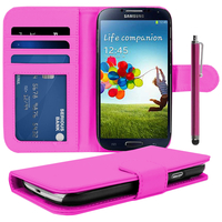 Samsung Galaxy S4 i9500/ i9505/ Value Edition I9515: Accessoire Etui portefeuille Livre Housse Coque Pochette cuir PU + Stylet - ROSE