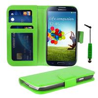 Samsung Galaxy S4 i9500/ i9505/ Value Edition I9515: Accessoire Etui portefeuille Livre Housse Coque Pochette cuir PU + mini Stylet - VERT