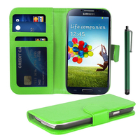 Samsung Galaxy S4 i9500/ i9505/ Value Edition I9515: Accessoire Etui portefeuille Livre Housse Coque Pochette cuir PU + Stylet - VERT