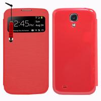 Samsung Galaxy S4 i9500/ i9505/ Value Edition I9515: Accessoire Coque Etui Housse Pochette Plastique View Case + mini Stylet - ROUGE