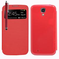 Samsung Galaxy S4 i9500/ i9505/ Value Edition I9515: Accessoire Coque Etui Housse Pochette Plastique View Case + Stylet - ROUGE