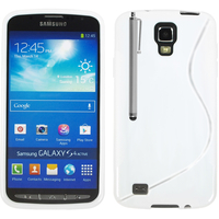 Samsung Galaxy S4 Active I9295/ I537 LTE: Accessoire Housse Etui Pochette Coque S silicone gel + Stylet - BLANC