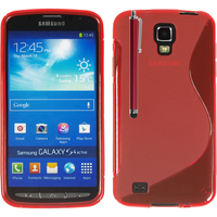 Samsung Galaxy S4 Active I9295/ I537 LTE: Accessoire Housse Etui Pochette Coque S silicone gel + Stylet - ROUGE