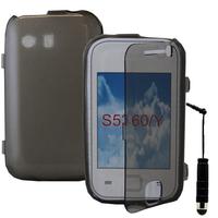 Samsung Galaxy Y Neo GT-S5360 S5369i: Accessoire Coque Etui Housse Pochette silicone gel Portefeuille Livre rabat + mini Stylet - GRIS