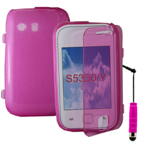 Samsung Galaxy Y Neo GT-S5360 S5369i: Accessoire Coque Etui Housse Pochette silicone gel Portefeuille Livre rabat + mini Stylet - ROSE